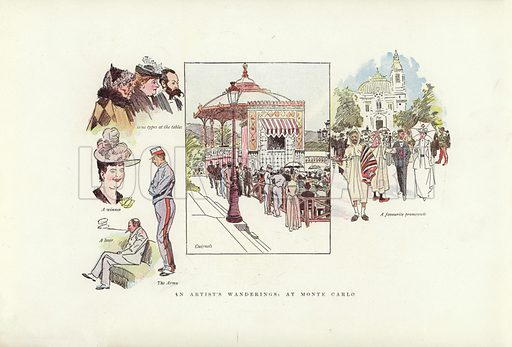 An artist's wanderings, at Monte Carlo. Illustration for A Phil May Medley (Graphic, 1903).