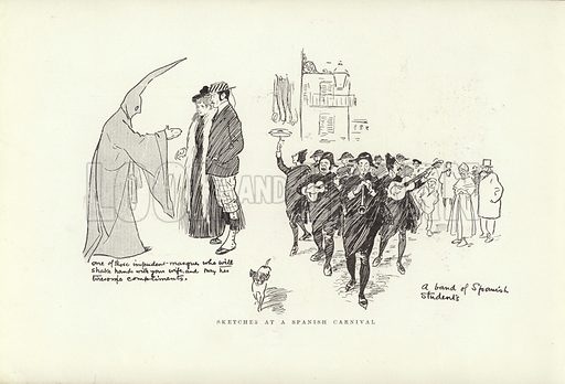 Sketches at a Spanish Carnival. Illustration for A Phil May Medley (Graphic, 1903).