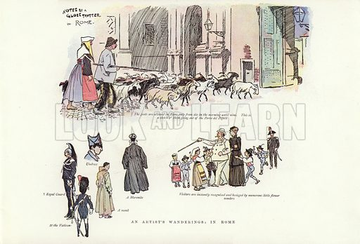 An artist's wanderings, in Rome. Illustration for A Phil May Medley (Graphic, 1903).