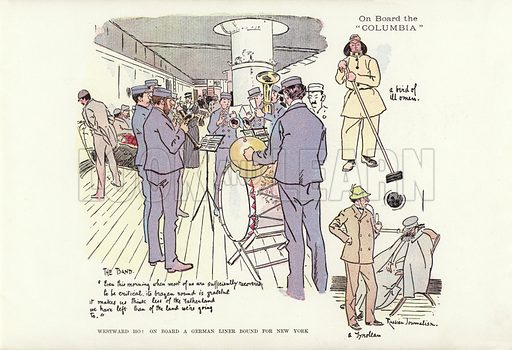 Westward Ho! On board a German liner bound for New York. Illustration for A Phil May Medley (Graphic, 1903).