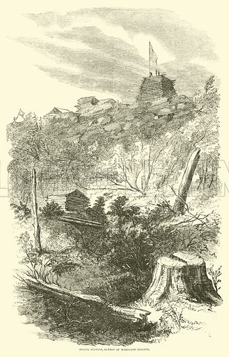 Signal station, Summit of Maryland Heights, September 1862. Illustration for Harper's Pictorial History of the Civil War (McDonnell Bros, 1886).