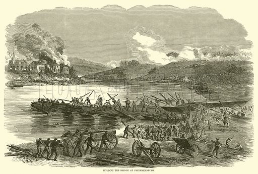 Building the bridge at Fredericksburg, December 1862. Illustration for Harper's Pictorial History of the Civil War (McDonnell Bros, 1886).