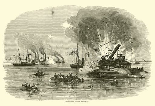 Destruction of the Westfield, January 1863. Illustration for Harper's Pictorial History of the Civil War (McDonnell Bros, 1886).