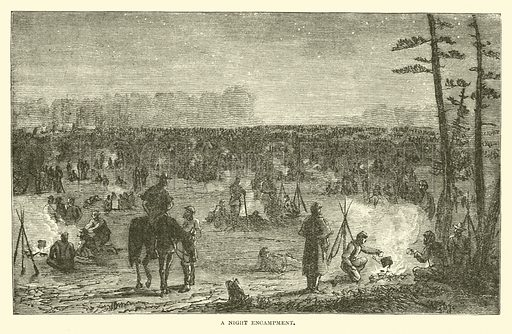 A night encampment, December 1862. Illustration for Harper's Pictorial History of the Civil War (McDonnell Bros, 1886).