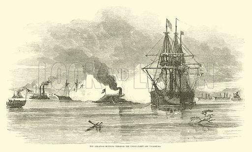The Arkansas running through the Union fleet off Vicksburg, July 1862. Illustration for Harper's Pictorial History of the Civil War (McDonnell Bros, 1886).