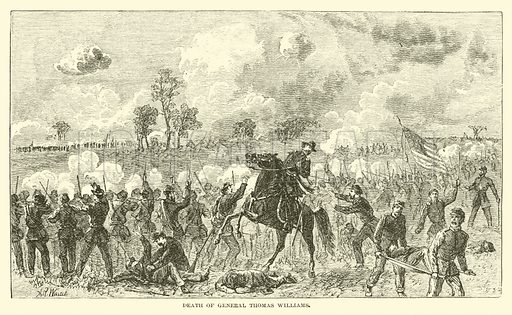 Death of General Thomas Williams, August 1862. Illustration for Harper's Pictorial History of the Civil War (McDonnell Bros, 1886).