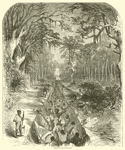 Negroes at work on the canal, March 1863. Illustration for Harper's Pictorial History of the Civil War (McDonnell Bros, 1886).