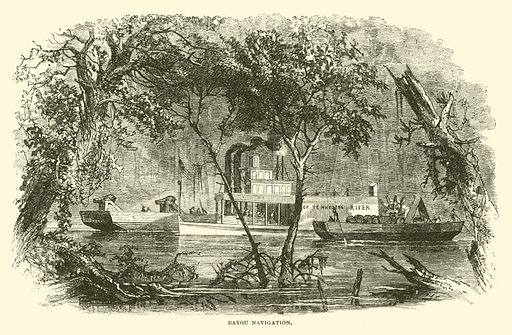Bayou Navigation, March 1863. Illustration for Harper's Pictorial History of the Civil War (McDonnell Bros, 1886).