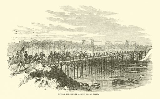 Saving the bridge across Pearl River, April 1863. Illustration for Harper's Pictorial History of the Civil War (McDonnell Bros, 1886).