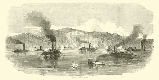 Attack on Grand Gulf, April 1863. Illustration for Harper's Pictorial History of the Civil War (McDonnell Bros, 1886).