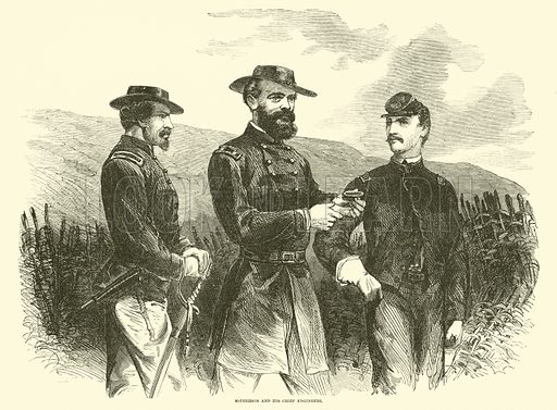 McPherson and his chief engineers, May 1863. Illustration for Harper's Pictorial History of the Civil War (McDonnell Bros, 1886).