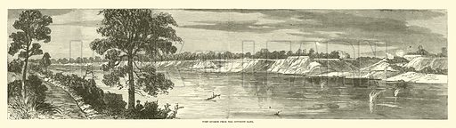 Port Hudson from the opposite bank, May 1863. Illustration for Harper's Pictorial History of the Civil War (McDonnell Bros, 1886).