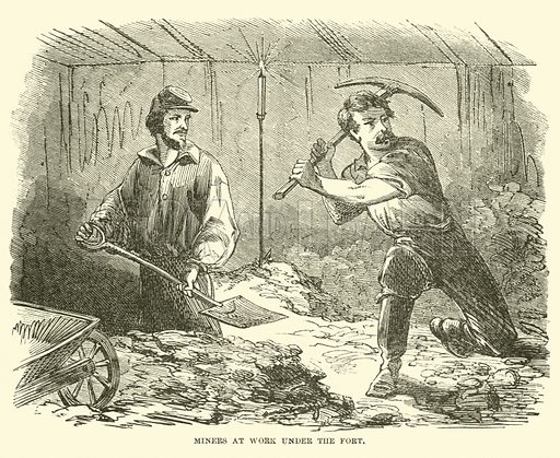 Miners at work under the fort, June 1863. Illustration for Harper's Pictorial History of the Civil War (McDonnell Bros, 1886).