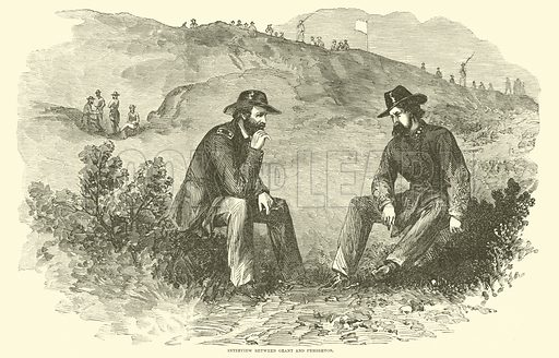 Interview between Grant and Pemberton, July 1863. Illustration for Harper's Pictorial History of the Civil War (McDonnell Bros, 1886).