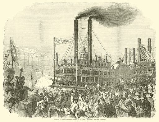 """Opening of the Mississippi, arrival of the """"Imperial"""" at New Orleans, July 1863. Illustration for Harper's Pictorial History of the Civil War (McDonnell Bros, 1886)."""