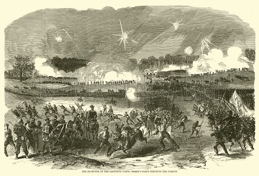 The stampede of the Eleventh Corps, Berry's corps checking the pursuit, May 1863. Illustration for Harper's Pictorial History of the Civil War (McDonnell Bros, 1886).