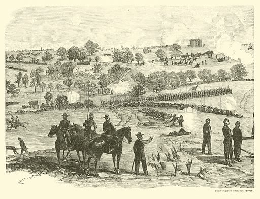 Union position near the centre, Battle of Gettysburg, 2 July, July 1863. Illustration for Harper's Pictorial History of the Civil War (McDonnell Bros, 1886).