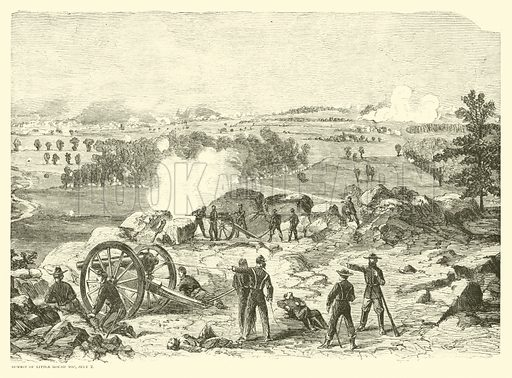 Battle of Gettysburg, Summit of Little Round Top, 2 July, July 1863. Illustration for Harper's Pictorial History of the Civil War (McDonnell Bros, 1886).