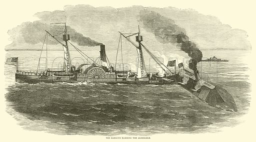 The Sassacus ramming the Albemarle, October 1864. Illustration for Harper's Pictorial History of the Civil War (McDonnell Bros, 1886).