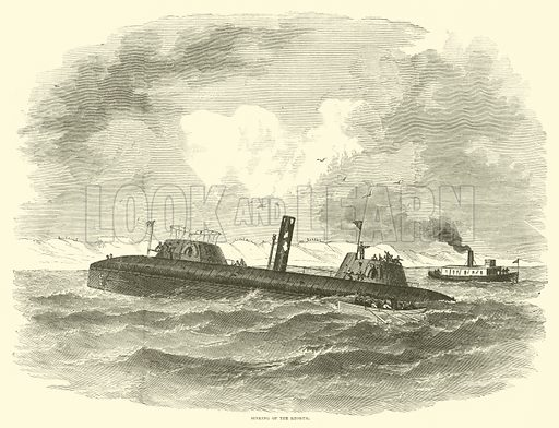 Sinking of the Keokuk, July 1863. Illustration for Harper's Pictorial History of the Civil War (McDonnell Bros, 1886).