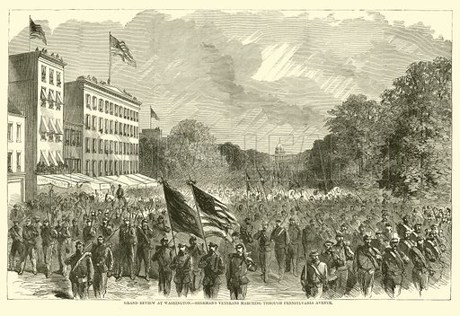 Grand review at Washington, Sherman's veterans marching through Pennsylvania Avenue, May 1865. Illustration for Harper's Pictorial History of the Civil War (McDonnell Bros, 1886).