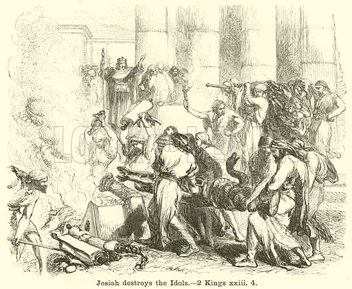 Josiah destroys the Idols, 2 Kings, xxiii, 4. Illustration for The Picture Scrap Book (Religious Tract Society, c 1880).
