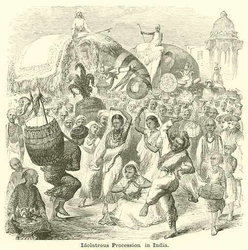 Idolatrous Procession in India. Illustration for The Picture Scrap Book (Religious Tract Society, c 1880).