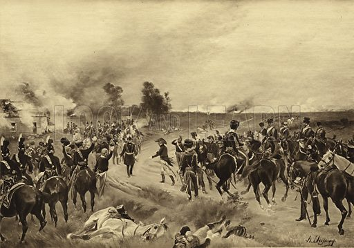 Battle of Waterloo, 1815. The victorious Wellington and Blucher meet at La Belle Alliance. Illustration for British Battles (Charles Letts, 1902).