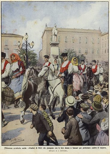Demonstrations in Sardinia. Published in La Domenica del Corriere, 26 October to 2 November 1913.