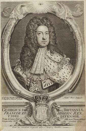 George I of Great Britain of Ireland. After Sir Godfrey Kneller, engraved by Parr.