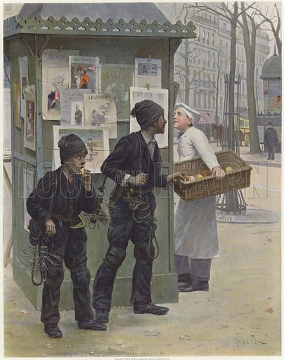 Two young chimney sweeps stealing cakes from a baker's basket