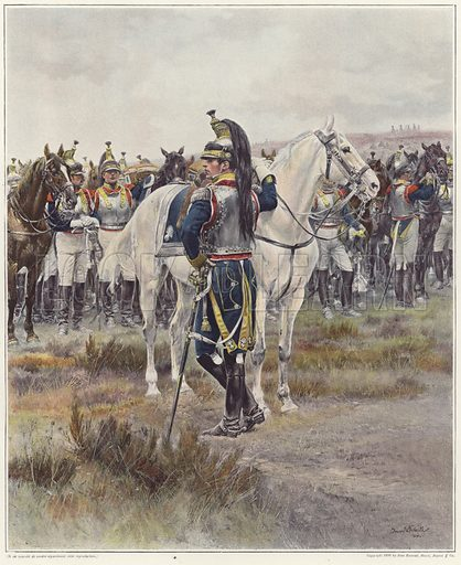 Mounted cavalry, in 1807, by Jean-Baptiste Edouard Detaille. Published in Figaro Illustre, March 1898. Published in Figaro Illustre, 1898, Ninth volume; published by Le Figaro, 26 Rue Drouot, 1898.