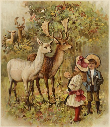 In The Park, two young children feeding the deer in a park. Published in The Prize, June 1894.