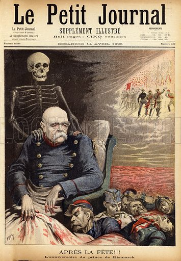 Cover of Le Petit Journal, 14 April 1895, showing Otto von Bismarck, surrounded by the bodies of dead soldiers with the figure of death with its skeletal hand on Bismarck's shoulder.