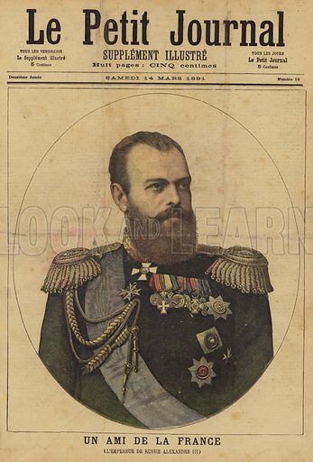 Cover of Le Petit Journal, 14 March 1891, with a portrait of Alexander III of Russia.