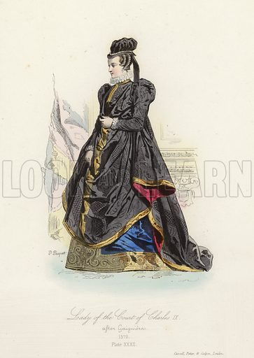 Lady of the court of Charles IX of France, 16th Century. Illustration for The Book of Historical Costumes, drawn from the best specimens and the most authentic documents of each period (Cassell, Petter and Galpin, c 1832).  Illustrations signed H[ippolyte Louis] Pauquet.