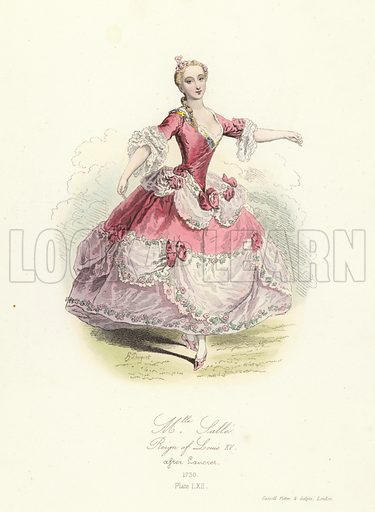 Marie Salle, French dancer; reign of Louis XV, 18th Century. Illustration for The Book of Historical Costumes, drawn from the best specimens and the most authentic documents of each period (Cassell, Petter and Galpin, c 1832).  Illustrations signed H[ippolyte Louis] Pauquet.