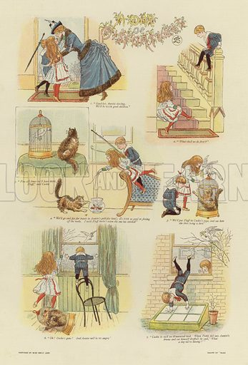 A Day of Misfortunes, from sketches by Miss Emily Lees, drawn by Mars, depicting a series of accidents and mishaps which befall two young children. Published in The Graphic Christmas Number, 1888.