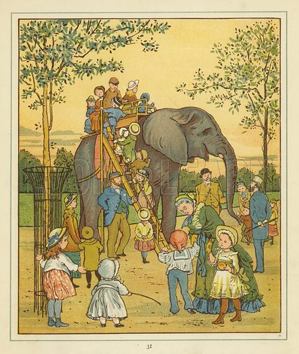 A group of people in London Zoo picture beside an elephant giving rides