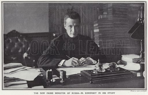 The new Prime Minister of Russia – Alexander Fyodorovich Kerensky in his study. Published in The Sphere, 28 July 1917.