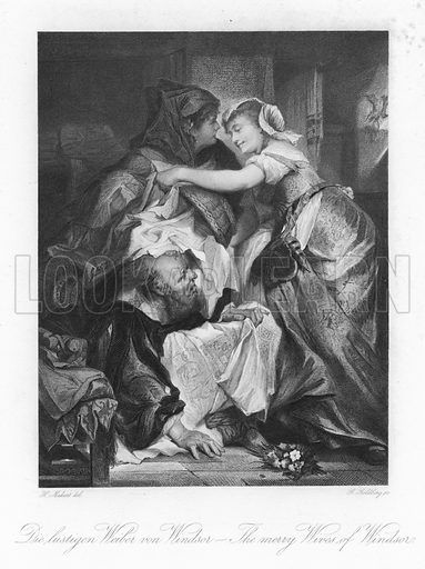 Scene from The Merry Wives of Windsor, by Wiliam Shakespeare. After Hans Makart, engraved by Georg Goldberg. Published in Shakespeare Scenes and Characters: A Series of Illustrations; published in Macmillan and Co, 1876.