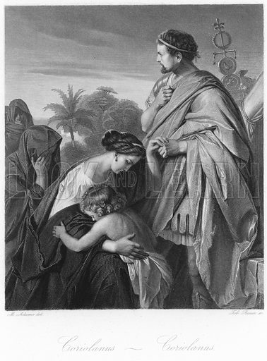 Scene from Coriolanus, by William Shakespeare. After Max Adamo, engraved by Johann Tobias Bauer. Published in Shakespeare Scenes and Characters: A Series of Illustrations; published in Macmillan and Co, 1876.