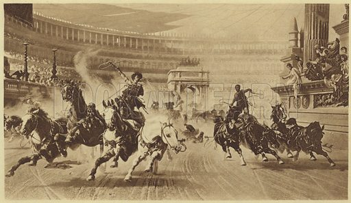 The Chariot Race; photogravure from the original painting by Alexander von Wagner. Published in The World's Great Classics, Library Comittee; published by The Colonial Press, New York & London, 1899.