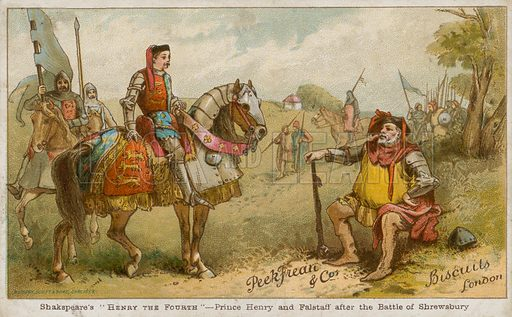 Prince Henry and Falstaff after the Battle of Shrewsbury. Shakespeare's Henry the Fourth. Series of postcards created by Peek Freari & Co Biscuits, London.