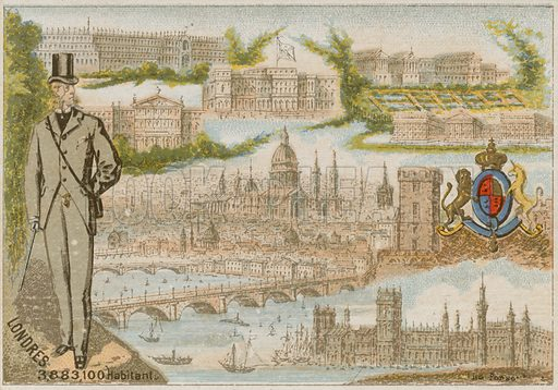 London. 3,883,100 inhabitants. French postcard, circa 19th century.