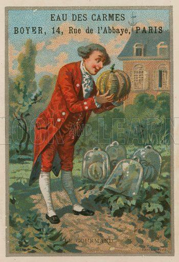 The glutton. Eau des Carmes, Boyer, Rue de l'Abbaye, Paris. Trade card with lithograph by H Sicard, Paris.