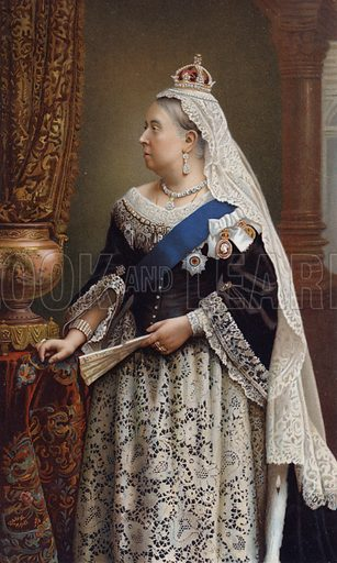 Queen Victoria. British monarch, 24 May 1819 – 22 January 1901. Lithograph by unknown artist.