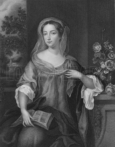 Mrs Nott. Engraving by J Thomson after an original painting by Wilhelm (or William) Wissing. Illustration for Memoirs of the Beauties of the Court of Charles the Second by Mrs Jameson (Henry Colburn, 1838).