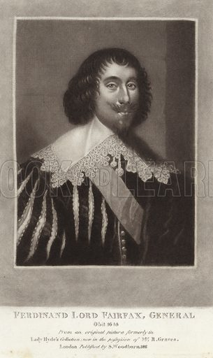 Ferdinand Lord Fairfax (1584-1648). English politician and a commander in the English Civil War. Illustration for Portraits of Characters Illustrious in British History. Published by Woodburn 1815.