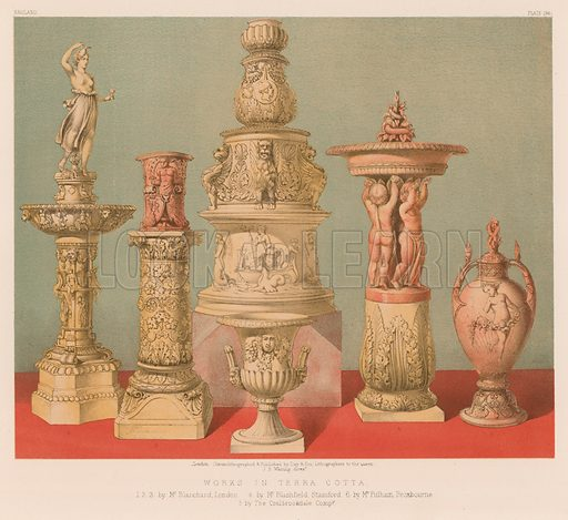 Works in Terra Cotta. Illustration for Masterpieces of Industrial Art and Sculpture at the International Exhibition 1862 (Day & Son, 1863).  Large chromolithograph of exceptional quality.